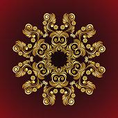 Vector vintage flower Mandala gold frame