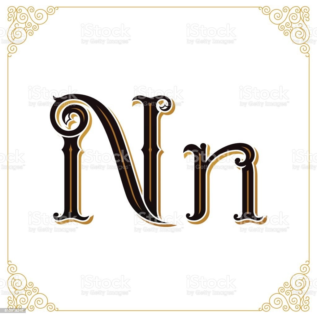 Vector Vintage Font. Letter and monogram in the calligraphic style. Qualitative manual work vector art illustration