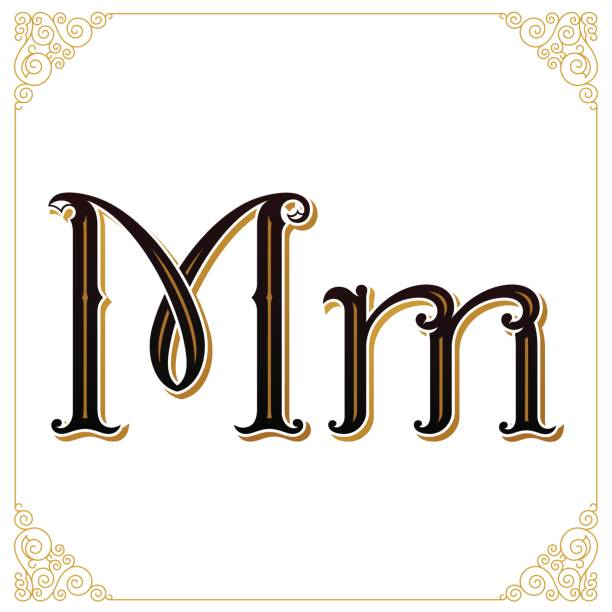 Royalty Free Background Of The Fancy Letter M Clip Art Vector