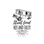 Vector vintage food truck poster with lettering. Retro hand drawn hipster street snack car illustration