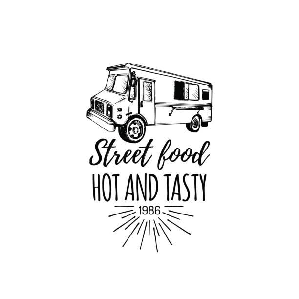 Vector vintage food truck poster with lettering. Retro hand drawn hipster street snack car illustration. vector art illustration