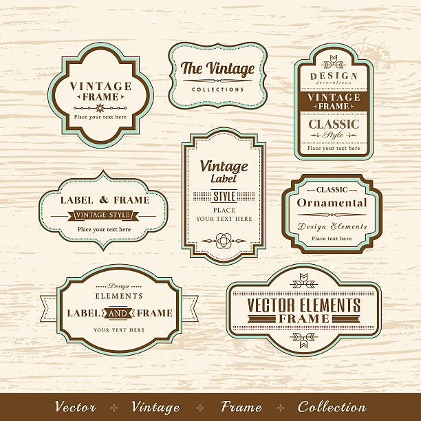 vector vintage frame set on wood texture background design elements - black tie events stock illustrations