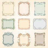 Decoration frame set. frames and borders,design corners, swirls, vectorized scroll.