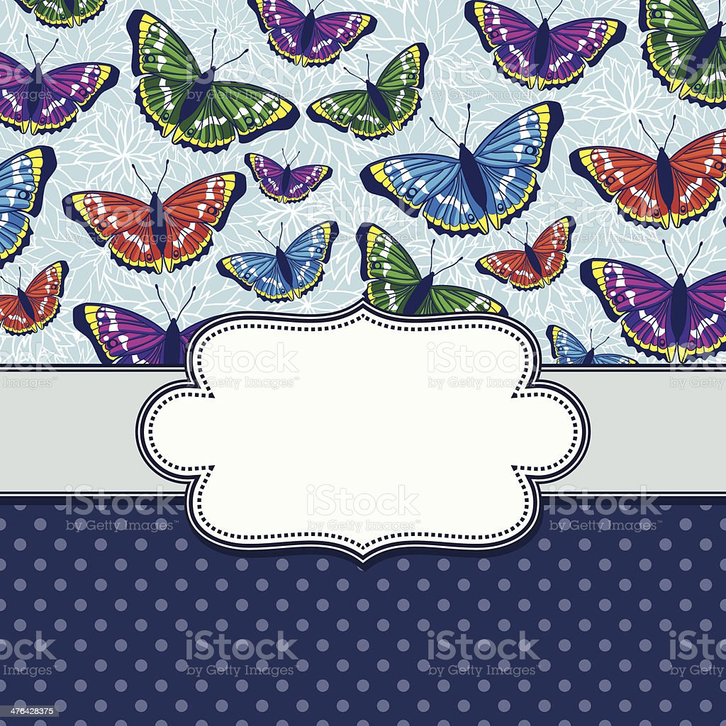 vector vintage frame with butterflies royalty-free stock vector art