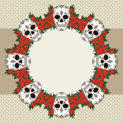Vector vintage frame with skulls and text place