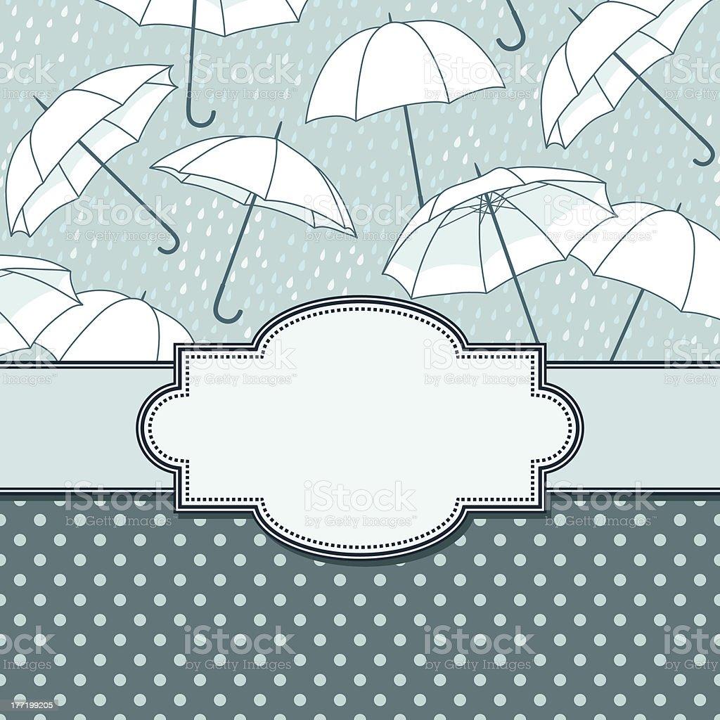 vector vintage frame with umbrellas royalty-free stock vector art