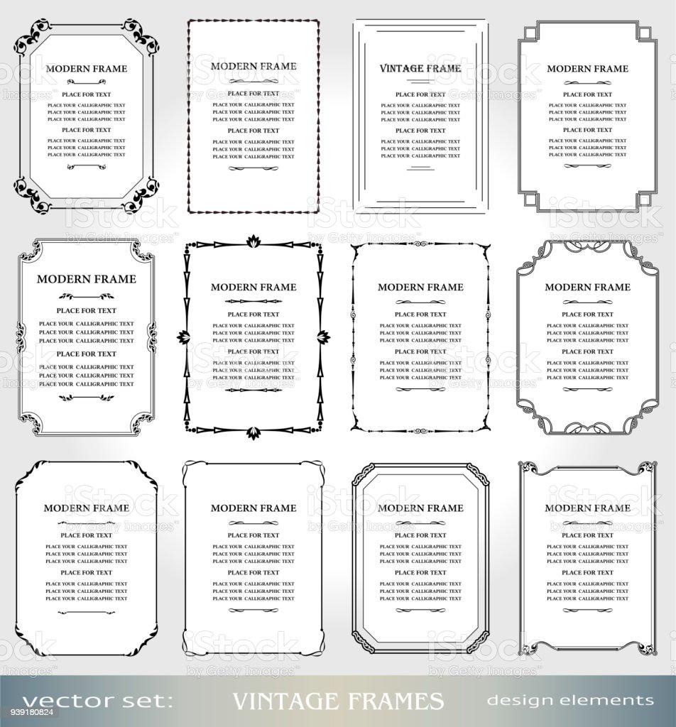 Vector Vintage Marcos y fronteras del sistema, victoriano portadas y páginas decoraciones, marcos de foto y arte ornamentals estilo Floral, elementos de diseño creativo para certificados, premios y diplomas - ilustración de arte vectorial