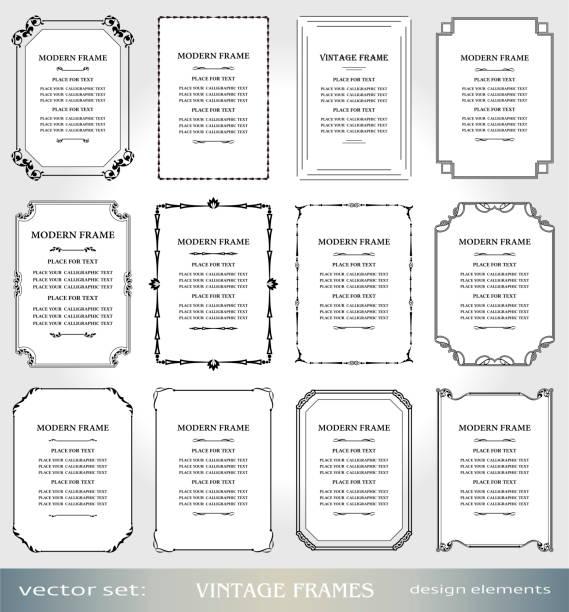 ilustraciones, imágenes clip art, dibujos animados e iconos de stock de vector vintage marcos y fronteras del sistema, victoriano portadas y páginas decoraciones, marcos de foto y arte ornamentals estilo floral, elementos de diseño creativo para certificados, premios y diplomas - marcos de certificados y premios