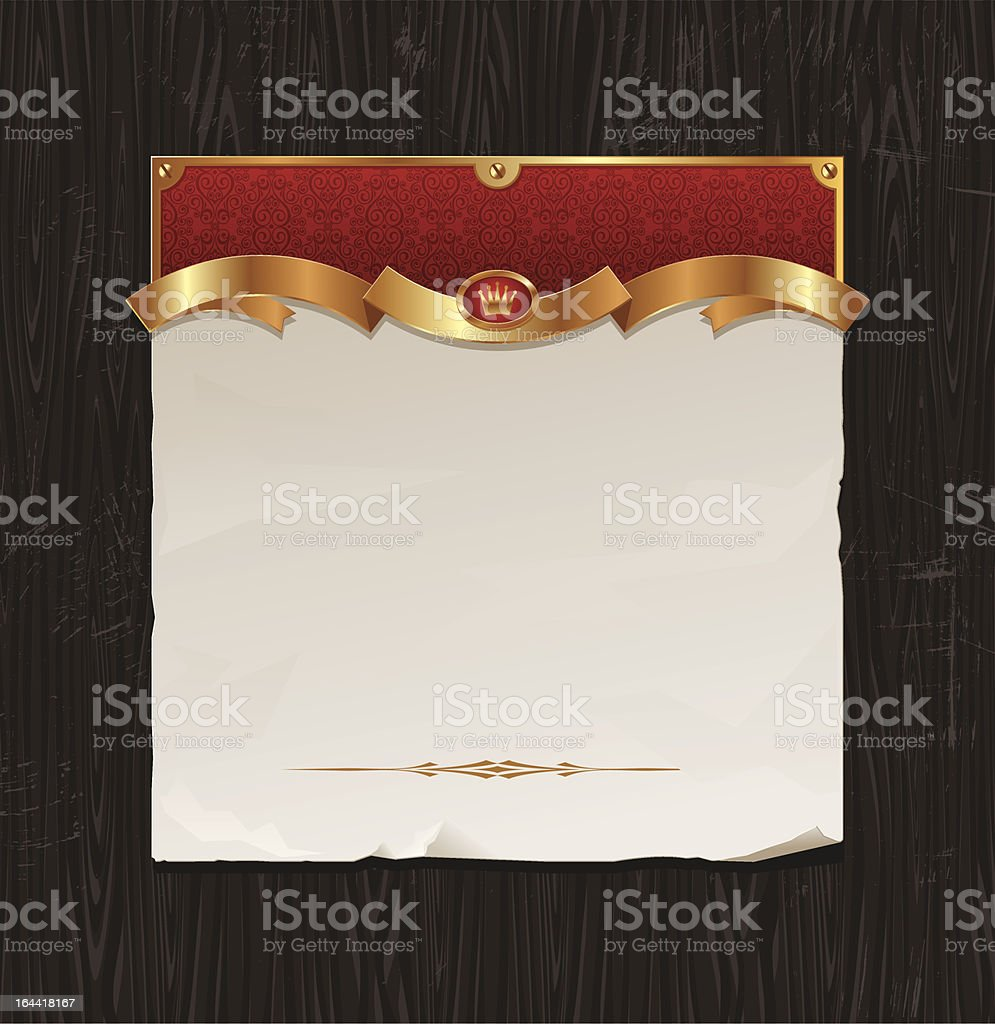 Vector vintage golden frame with paper banner royalty-free stock vector art