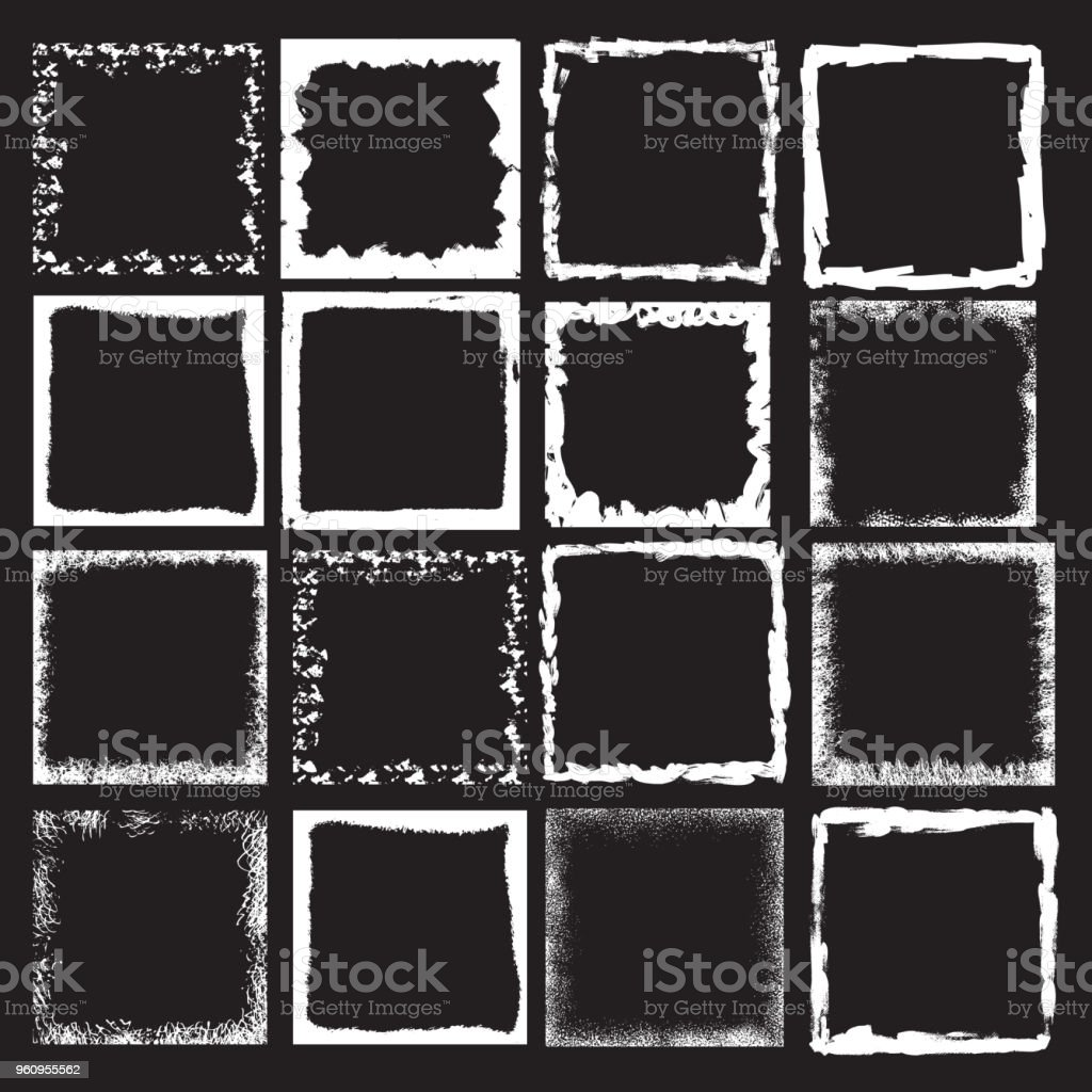 Vector Vintage Grunge Black White And Color Distress Border Frame ...