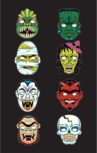 vintage Halloween masks, of Frankenstein, a lizard man, a mummy, a witch, Dracula vampire, devil, demon, gorilla man, and dorky skull.
