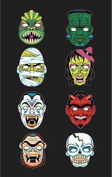 bildbanksillustrationer, clip art samt tecknat material och ikoner med vector vintage halloween masks - face mask
