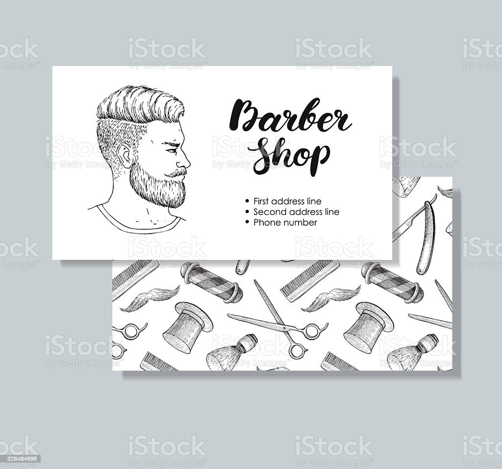 Vector Vintage Hand Drawn Barber Shop Business Cards Stock Vector ...