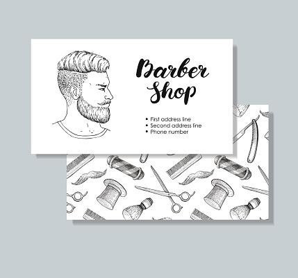 Vector vintage hand drawn Barber Shop business cards