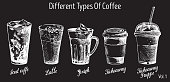 Different types of coffee, vector hand drawn illustration. Iced coffee, latte, irish, takeaway and takeaway frappe coffee drinks with hand lettering for menu, banner, poster.