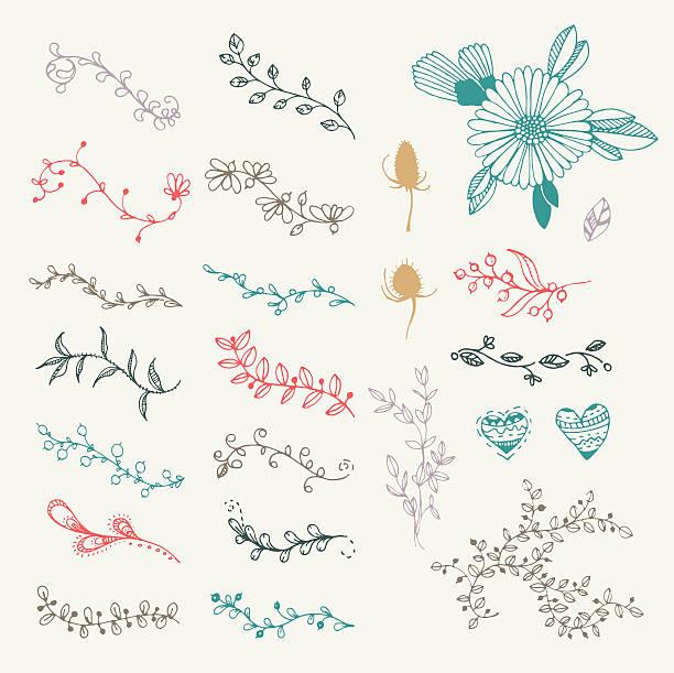 手描きベクトルビンテージのセット花の要素とフレーム - 秋のファッション点のイラスト素材/クリップアート素材/マンガ素材/アイコン素材