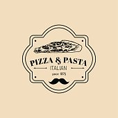 Vector vintage hipster italian food badge. Modern pasta and pizza sign. Hand drawn mediterranean cuisine illustration. Traditional southern europe meal sketch in ink style. Pizzeria icon.