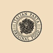 Vector vintage hipster italian food badge. Modern pasta sign or icon. Hand drawn mediterranean cuisine illustration. Traditional southern europe meal sketch in ink style.