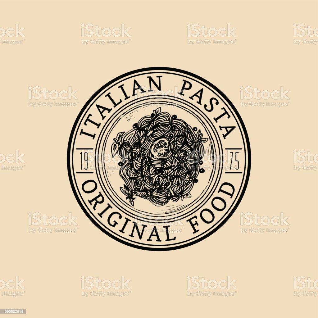 Vector vintage hipster italian food badge. Modern pasta sign or icon. Hand drawn mediterranean cuisine illustration. vector art illustration