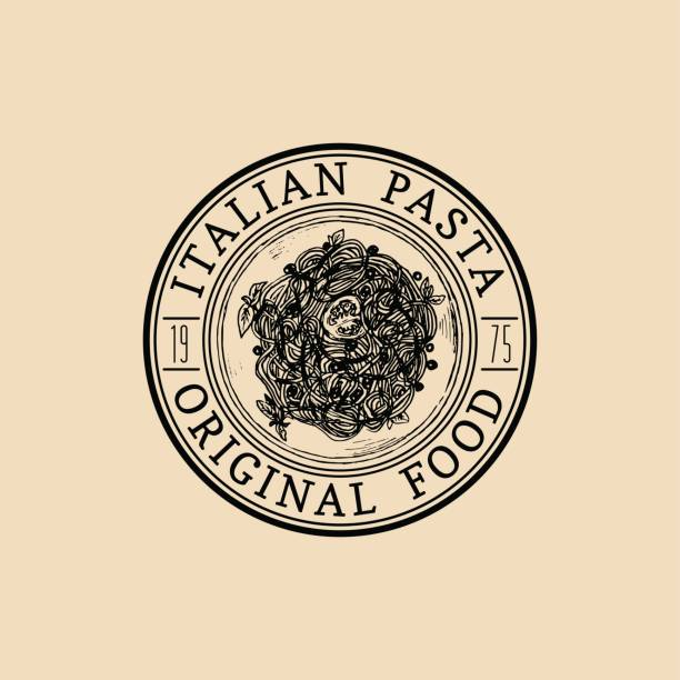 ilustrações de stock, clip art, desenhos animados e ícones de vector vintage hipster italian food badge. modern pasta sign or icon. hand drawn mediterranean cuisine illustration. - sauce tomatoes
