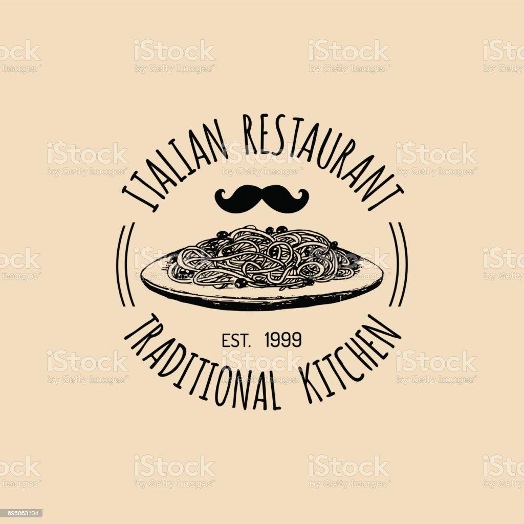 Vector Vintage Hipster Italienisches Essen Abzeichen Moderne Nudeln ...