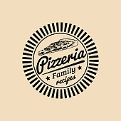 Vector vintage hipster italian food badge. Modern pizza sign. Hand drawn mediterranean cuisine illustration. Traditional southern europe meal sketch in ink style.