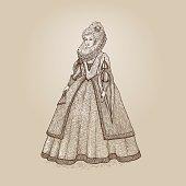 Vector vintage illustration. Gentlewoman Elizabethan epoch 16th century. Medieval lady
