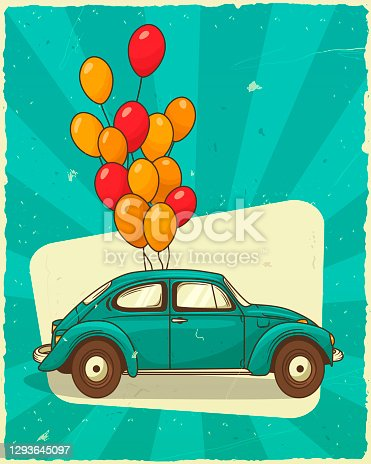 istock Vector vintage illustration. Gift card trendy retro car in profile with a bunch of balloons. Valentines day decoration. 1293645097