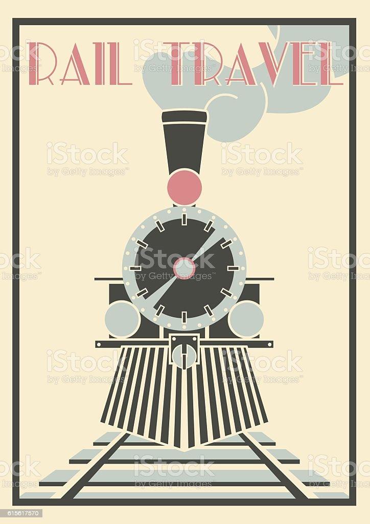 Vector vintage Illustration Of Steam Locomotive - Rail Travel. vector art illustration