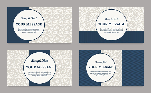 Vector vintage invitations, business cards or announcements