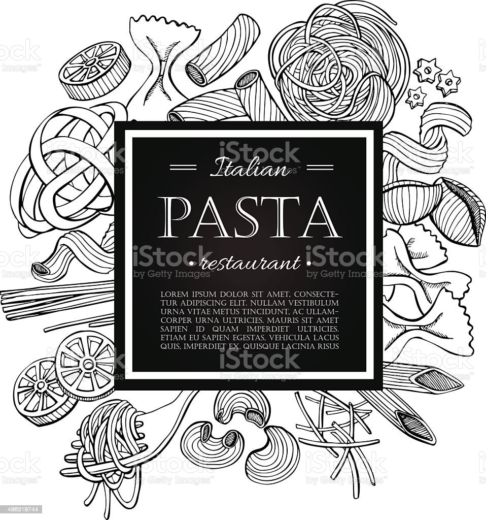Vector vintage italian pasta restaurant illustration. vector art illustration