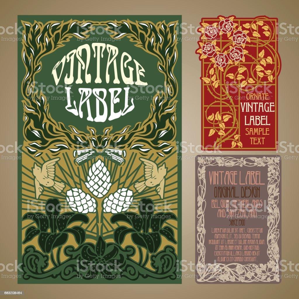 vetor itens antigos: rotular o estilo Art Nouveau - ilustração de arte em vetor