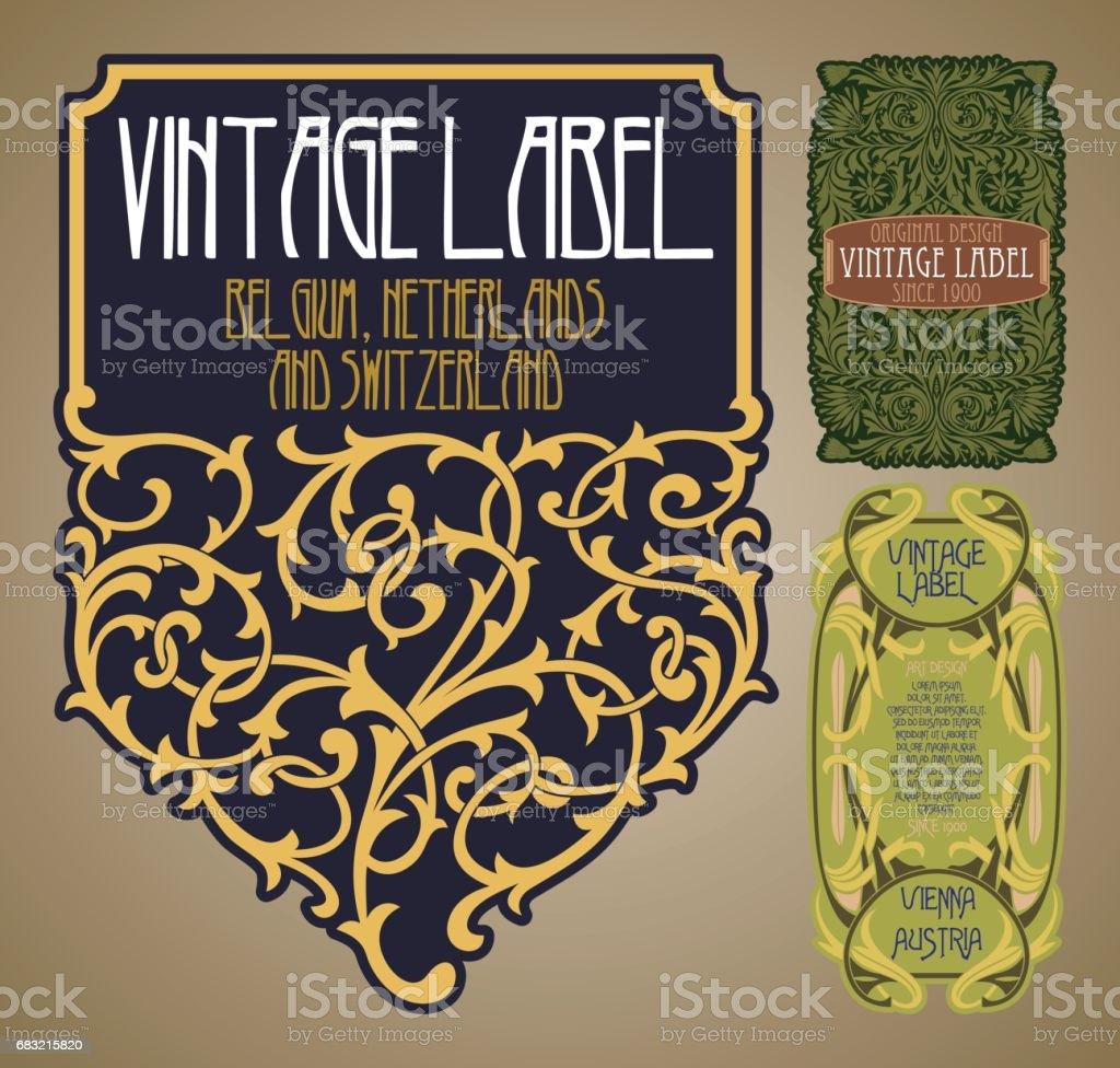 vector vintage items: label Art Nouveau vector vintage items label art nouveau - arte vetorial de stock e mais imagens de antiguidade royalty-free
