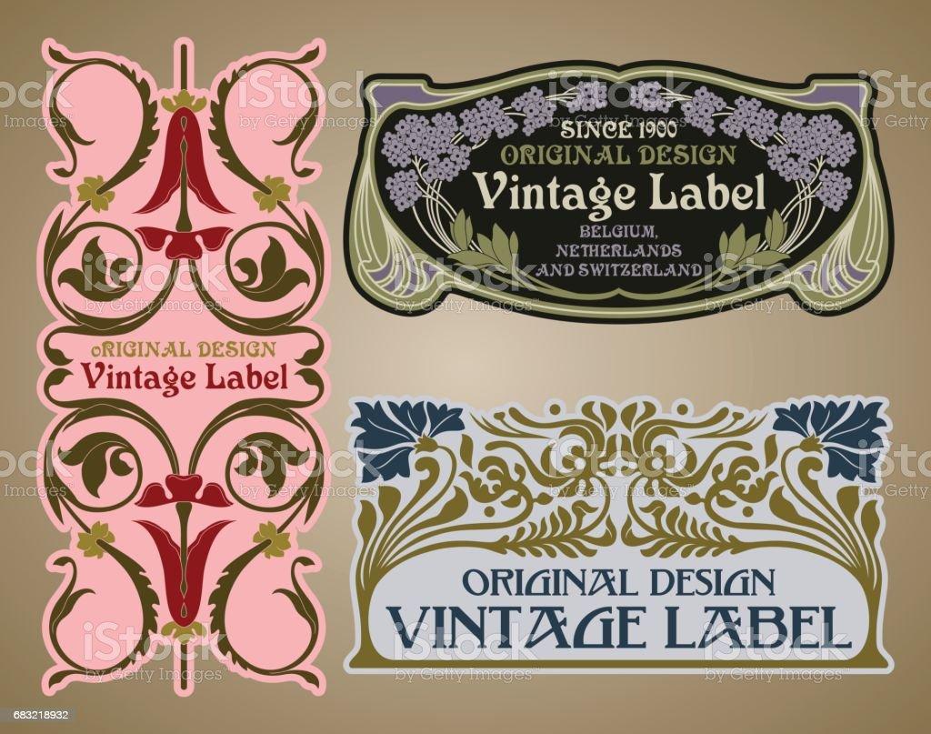 向量古董物品: 標籤新藝術風格 免版稅 向量古董物品 標籤新藝術風格 向量插圖及更多 generic 圖片