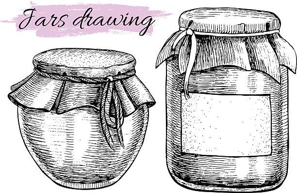 ilustrações de stock, clip art, desenhos animados e ícones de vector vintage de berlindes. mão desenhada ilustrações. - jam jar