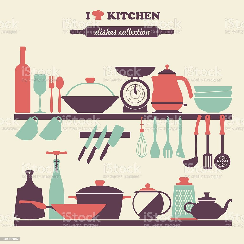 Vector Vintage kitchen dishes icons set vector art illustration