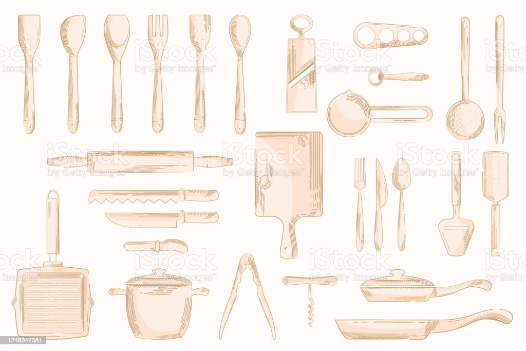 Vector Vintage Kitchen Utensils Icons Hand Drawn Stock Illustration Download Image Now Istock