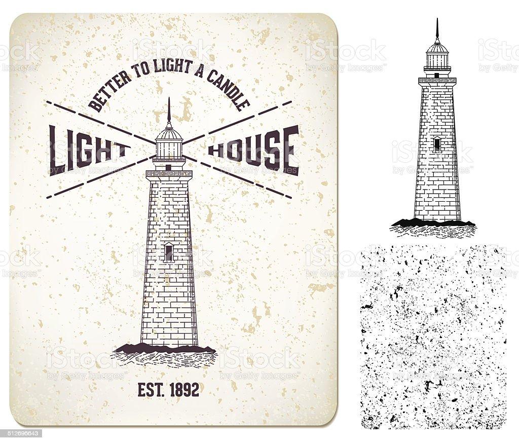 Vector. vintage label 'lighthouse' vector art illustration