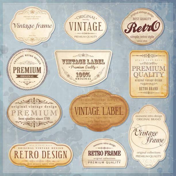 ilustrações, clipart, desenhos animados e ícones de vetor vintage rótulos - antiguidades