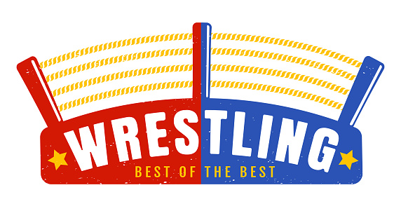 Vector vintage logo for a wrestling with ring.