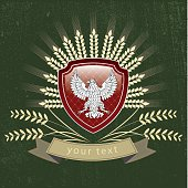 Vector vintage logo of the eagle on the shield