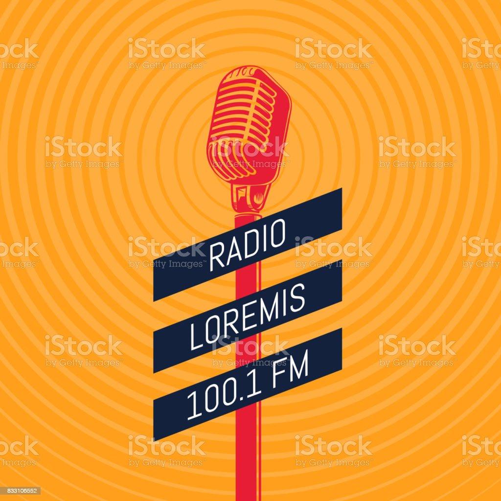 Vector vintage microphone radio illustration on radio signal circles background