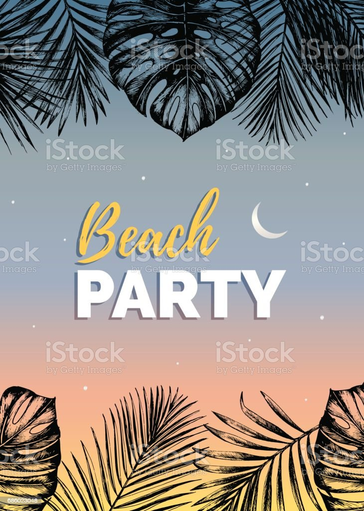 Vector Vintage Night Beach Party Illustration Exotic Palm Leaves Background Hand Sketched Jungle Foliage
