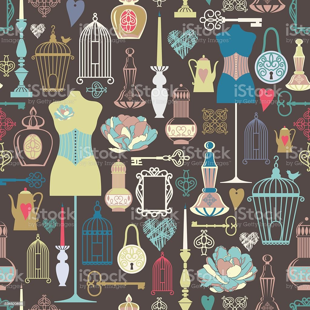 vector vintage objects seamless pattern. vector art illustration