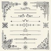 Decoration design elements. design corners, bars, swirls, vectorized scroll,frames and borders.