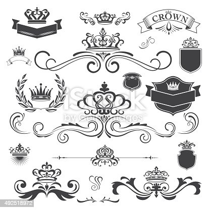 Decoration design elements. design corners, crown,bars, swirls, vectorized scroll,frames and borders.