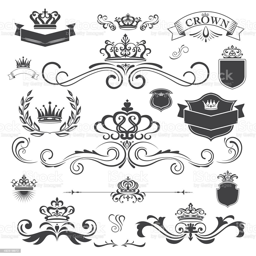 Vector vintage ornament with crown design element vector art illustration