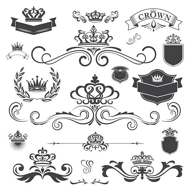 Adorno Vector vintage con elementos de diseño de corona - ilustración de arte vectorial