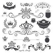 Vector vintage ornament with crown design element