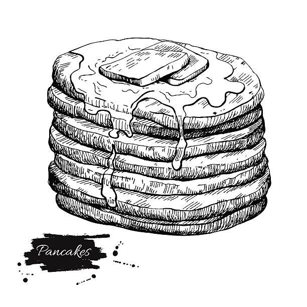ベクトルヴィンテージのパンケーキ図面ます。手描き illus モノクロのお食事 - パンケーキ点のイラスト素材/クリップアート素材/マンガ素材/アイコン素材